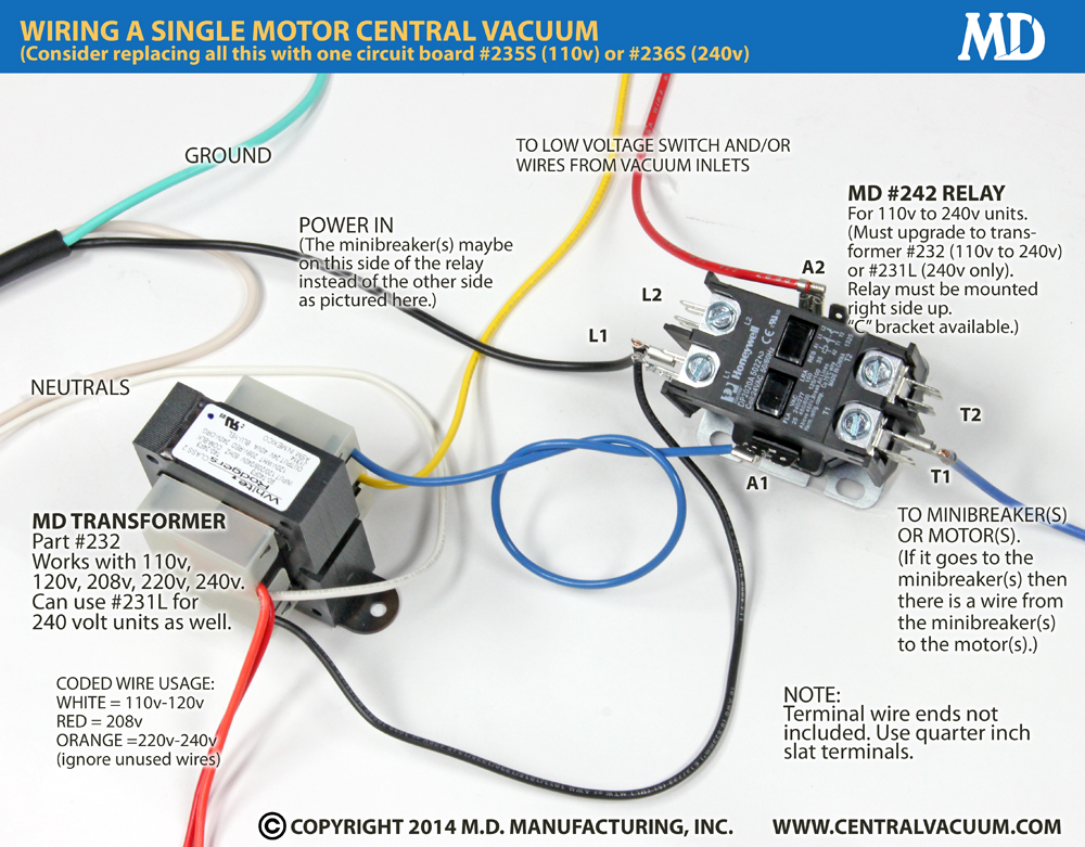 242 Relay One Motor 28 amp relay central vacuum central vacuum wiring diagram at alyssarenee.co