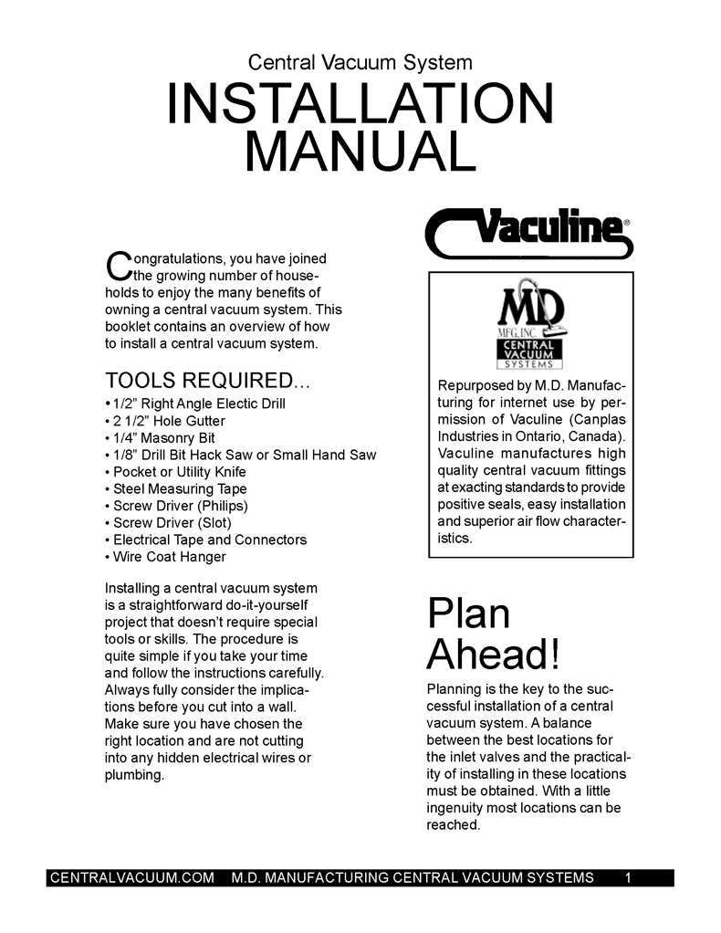 Central Vacuum Installation Manual Introduction - MD Central Vacuum